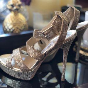 Jimmy Choo Gold Sparkling Heels SZ 361/2